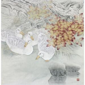 中国工笔画协会会员 陈景芝《工笔花鸟》 67*67CM