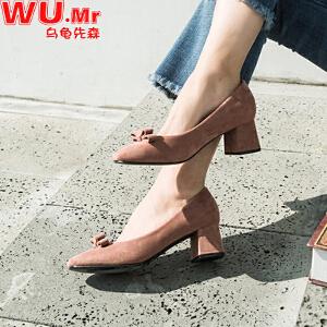 乌龟先森 高跟鞋 女士春季新款蝴蝶结方头学生粗跟单鞋女式5cm中跟前扣时尚鞋子