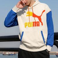 幸运叶子 Puma/彪马男装新款运动服休闲上衣舒适透气连帽印花大LOGO撞色拼接卫衣套头衫530709-05