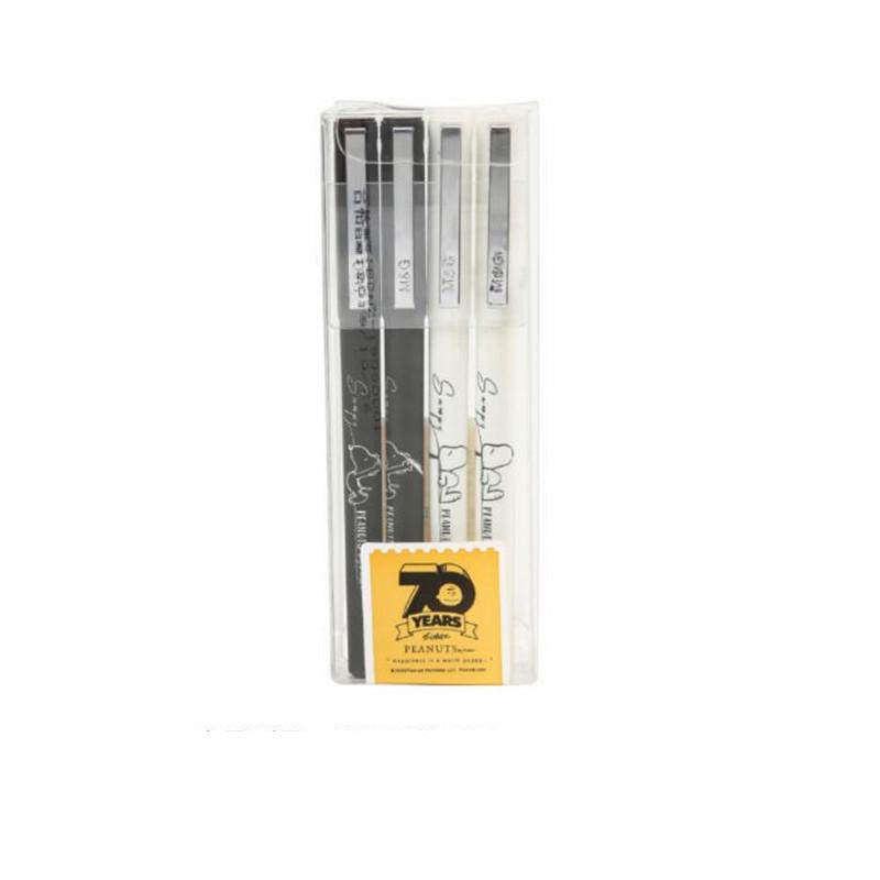 晨光13908史努比中性笔 0.5mm黑色全针管水笔 考试笔 签字笔 4支