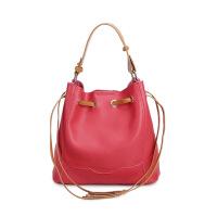 女包包包真皮女包欧美时尚抽绳水桶单肩包潮流时尚斜挎包 红色