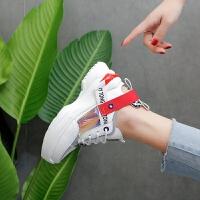 夏季网状透气拼色网红女士休闲运动旅游单鞋软底高跟透气亮片女鞋