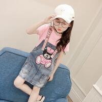 女童背带裙夏2018新款韩版套装女孩牛仔连衣裙卡通短袖体恤两件套 图片色