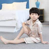 男童睡衣夏季薄款仿儿童家居服短袖套装3夏天5中大童7岁9小男孩 100cm(100码【身高 85-95CM】)
