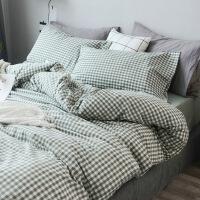 纯棉水洗棉被套单件 1.5米1.82.0米单人全棉床单被罩单套两件套 绿色 深绿小格 被套200x230cm 床单23