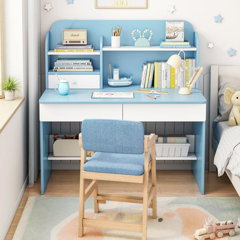 【爆款】电脑台式桌简约家用卧室学生写字桌简易办公书桌书架组合一体桌子 支持礼品卡+积分 带书架 钢木创意书桌