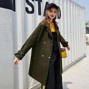 【2件3折价291.072元】唐狮冬新款外套女都市时尚净色西装领双排扣中长款呢外套