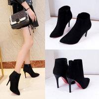 女鞋春秋季新款韩版时尚百搭绒面短靴女超高跟尖头细跟马丁靴裸靴 黑