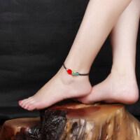 民族风景泰蓝漆雕玫瑰花朵脚链 手工饰品百搭
