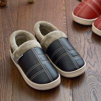 皮防水情侣冬季全包跟毛棉拖鞋 男女室内家居家用保暖防滑厚底韩版