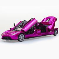 彩珀加长版跑车1:32合金仿真车模带回力声光5开门儿童玩具车