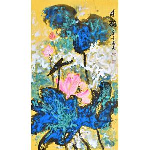【有合影】当代花鸟画家 朱老师  66 X 38CM 《荷韵》 HN12771