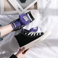 高帮帆布鞋女港风板鞋布鞋欧美风新款原宿学生韩版小白鞋女鞋