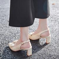 2019新款夏季粗跟凉鞋女仙女风蝴蝶结后空浅口尖头包头凉鞋女高跟夏季百搭鞋