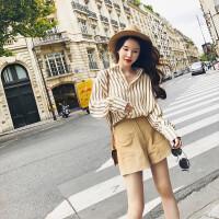 韩版女装小香风百搭条纹翻领长袖衬衫高腰阔腿裤套装2018新品 条纹衬衫+短裤