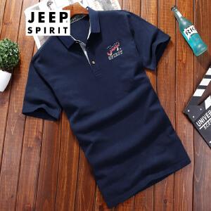 吉普JEEP男士翻领短袖t恤男士夏装简约休闲半袖T恤舒适棉质半袖POLO衫