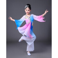 新款民族舞蹈服装水袖舞蹈六一儿童演出服古典舞秧歌服现代舞2018