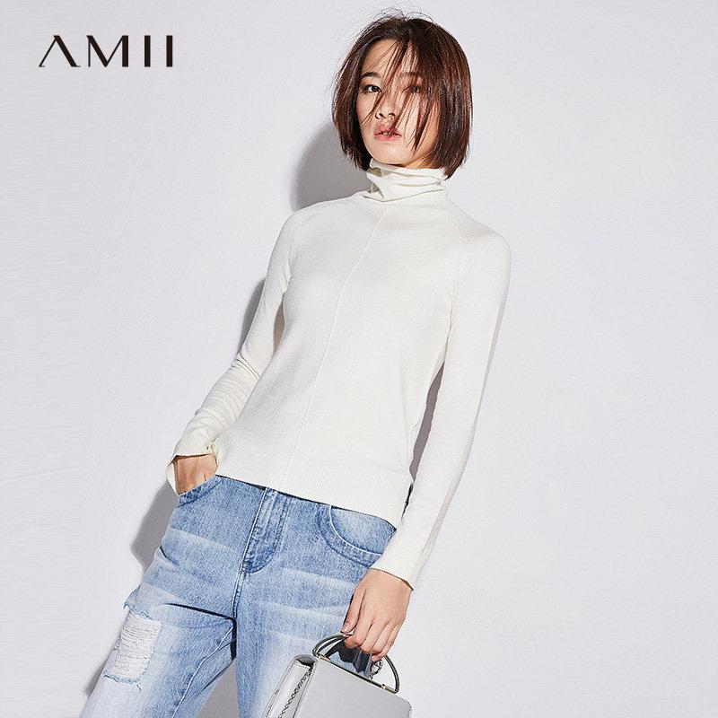 Amii[极简主义] 2017秋新品简约纯色高领开衩针织毛衣11764058