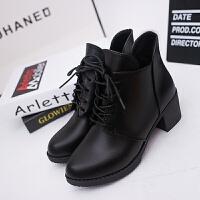 女靴秋冬季女士单鞋圆头高跟马丁靴英伦风裸靴短靴女鞋