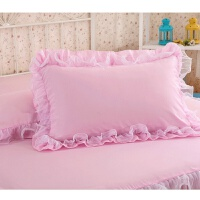 公主蕾丝花边枕套一对荷叶边单人双人枕头保护套 48cmX74cm