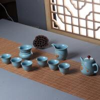 德化手绘白瓷高档功夫茶具套装 汝窑整套陶瓷端午中秋礼品礼盒