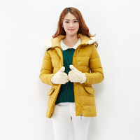 (2件3折价119.4元)唐狮正品 冬装新品女羊羔毛拼接牛角扣中长款羽绒服