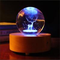 发光水晶音响 小夜灯音乐盒 温馨梦幻水晶球 浪漫情人节礼物 实木底座台灯 蓝牙音箱 创意生日礼物