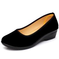 春秋季老北京布鞋坡跟中跟平底女鞋单鞋时尚软底礼仪鞋黑色工作鞋 黑色 中方口-坡跟
