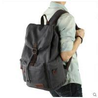 大容量抽绳设计舒适透气帆布旅行包电脑包双肩包男休闲学生书包