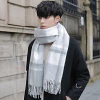 围巾男士冬季韩版百搭简约格子学生年轻人围脖秋冬潮高档羊毛保暖