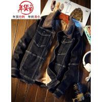 日系加绒牛仔外套男士冬季复古羊羔毛修身上衣加厚牛仔棉衣夹克潮 8829黑灰色