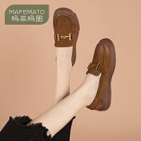 玛菲玛图2020春季新品乐福鞋女复古英伦风金属扣厚底擦色做旧牛皮休闲女鞋525-5S