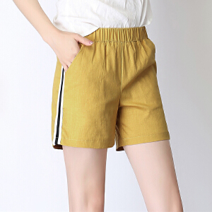 卡茗语2017新款韩版棉麻松紧腰侧边条纹休闲亚麻运动短裤女夏宽松