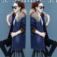 冬装牛仔棉衣服女2018新款时尚韩版加厚羊羔毛外套中长款流行棉袄 蓝色