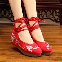 系带款红色绣花鞋古风汉服鞋子女内增高绣花古装红布鞋百搭单鞋女