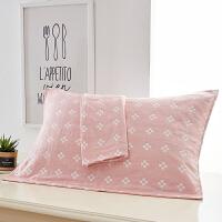 纯棉三层纱布枕巾情侣枕头盖巾一对装两条成人枕巾全棉