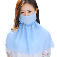 春夏季防晒护颈口罩女防尘口罩透气开车骑车纯色遮阳面罩