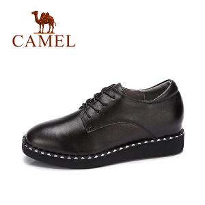 camel 骆驼女鞋  秋季新品酷感时尚真皮系带休闲鞋女铆钉平跟单鞋潮