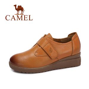 camel/骆驼女鞋 秋冬新品 头层牛皮鞋简约英伦舒适魔术贴低帮女单鞋