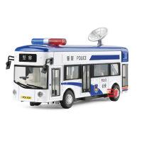 天鹰 仿真合金巴士警车模型 儿童声光回力公交车玩具车摆件