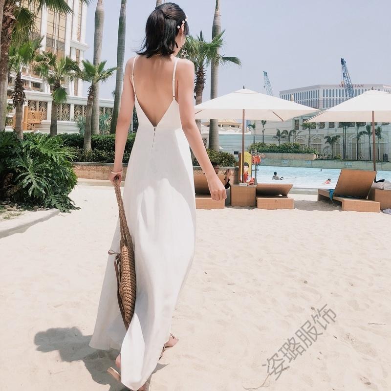 性感海岛雪纺度假裙夏吊带白色V领短裙露背沙滩裙简约连衣裙仙女 乳白色 发货周期:一般在付款后2-90天左右发货,具体发货时间请以与客服协商的时间为准