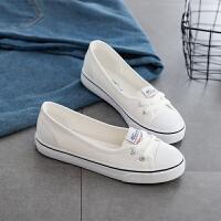 春秋浅口帆布鞋女韩版套脚鞋学生平底布鞋懒人鞋小白鞋女护士单鞋