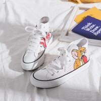 涂鸦猫和老鼠高帮帆布鞋女2019学生新款韩版卡通手绘网红休闲板鞋 白色