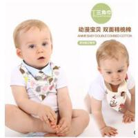 外贸婴儿口水巾双层纯棉卡通创意三角巾