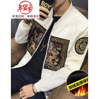 秋冬季复古男士外套龙袍刺绣中国风男装夹克棒球服精神社会人小伙