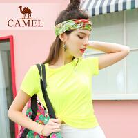 camel骆驼运动 新品女款圆领T恤短袖运动跑步健身T恤休闲舒适女