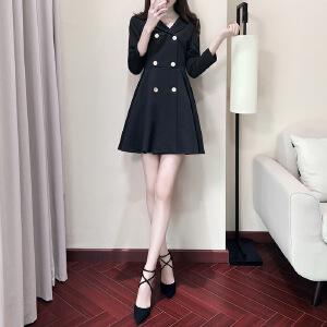 卡茗语连衣裙女2017秋装新款修身显瘦a字裙韩版时尚小黑裙打底裙子