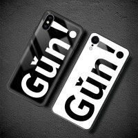 iphone苹果xs手机壳创意xs max日韩玻璃套潮牌x个性硅胶xr男女款 x gun (黑)+