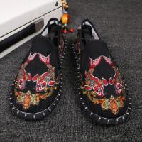 老北京布鞋男牛筋底社会鞋西山手工布鞋刺绣脸谱鞋豆豆鞋防臭花鞋