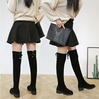 冬靴子长筒新款长靴子女学生韩版长靴过膝加绒中跟高筒靴女马靴 黑色加绒